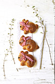 Rabbit-shaped Easter brioches