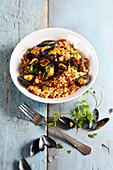 Saffron mussel Fregola