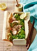 Lachs-Avocadosalat in Bento-Box