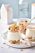 Homemade yoghurt with apples, cereals and cinnamon