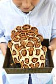 Leopardenkuchen in Scheiben geschnitten