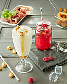 Raspberry mojito and popcorn milkshake