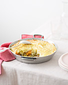 Parmentier with Brussels sprouts and carrots
