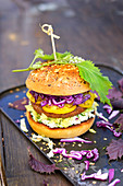 Vegetarian burger flavored with shiso