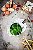 Zutatenstilleben mit Spinat, Feta, Eiern und Grissini