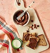 Selbstgemachter Schokoladen-Haselnuss-Aufstrich