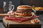 Beef and bacon hamburger