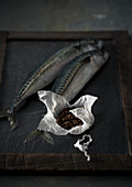 Stilleben mit rohen Makrelen und Kaffeebohnen