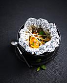 Mango mit Minze en Papillote