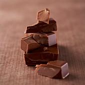 Milchschokolade in Stücken