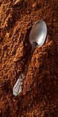 Löffel liegt in Kakaopulver