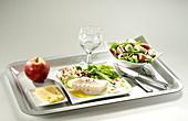 Menü mit Salat, Fischgericht, Käse, Apfel und Glas Wasser auf Tablett