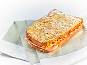 Croque-monsieur ,cheese and ham toasted sandwich