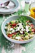 Bulgur,broad bean,tomato and feta salad