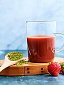Strawberry juice with matcha tea