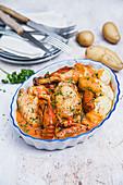 Kartoffeln mit Huhn mit Krebsen (Frankreich)
