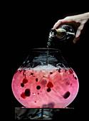 Bowle mit roten Früchten wird mit Champagner aufgegossen