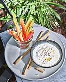 Creamy lemon dip for raw vegetable sticks and breadsticks