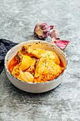Chicken with vinegar and fresh garlic