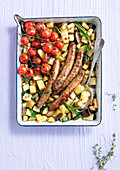 Provencal sausages with zucchini and eggplants