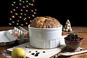 Traditional italian panettone with Christmas decorations.