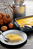 Vanilla-flavored baked egg custard