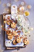 Salziges Shortbread in Rentierform zum Aperitif (Weihnachten)