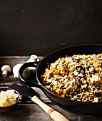Buckwheat risotto with pumpkin and mushrooms