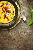 Sweetcorn soup with chorizo