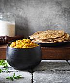 Baingan Bharta mit Chapati