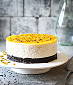 Coconut-mango cheesecake with black sesame