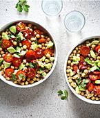 Chickpea,tomato and chorizo salad