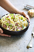 Bucatini with leeks and white ham