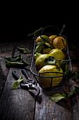 Zitronen in Drahtkorb vor dunklem Hintergrund