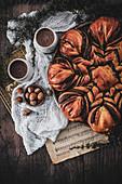Chocolate-hazelnut snowflake brioche
