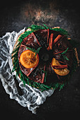 Gingerbread with confit oranges
