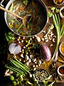 Zutaten für Gemüseeintopf mit Gewürzen