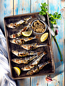 Grilled stuffed sardines