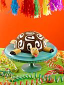 Turtle-shaped chocolate roll cake