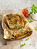 Kale cabbage ad tomato savoury cake