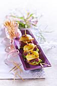 Mini potato burger with duck breast, cheese for the aperitif