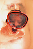 Boy with diving googles