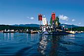 Procession on boats, Staffelsee, Murnau, Upper Bavaria, Germany