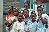 Group of native children, St. Lucia, Caribbean