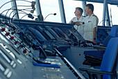 Captain and officer at the bridge, Cruise ship AIDA, Caribbean, America