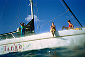 Women on sailing boat, St. Lucia, Caribbean