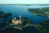 Aerial view of Schwerin Castle, Schwerin, Mecklenburg-Western Pomerania, Germany