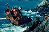 Shipwreck of M.V. Ranga, Dunmore Head, close to Coumeenole Beach, near Slea Head on the Dingle Peninsula, Co. Kerry, Ireland