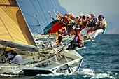 People on a sailing boat at a regatta, Centomiglia, Lake Garda, Italy, Europe