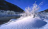 River Isar near Vorderriss, Winter mountain landscape, Garmisch-Partenkirchen, Upper Bavaria, Bayern